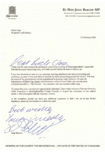 Letter from Mr Bercow